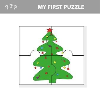 Arbre de noël puzzle - illustration vectorielle pour les enfants