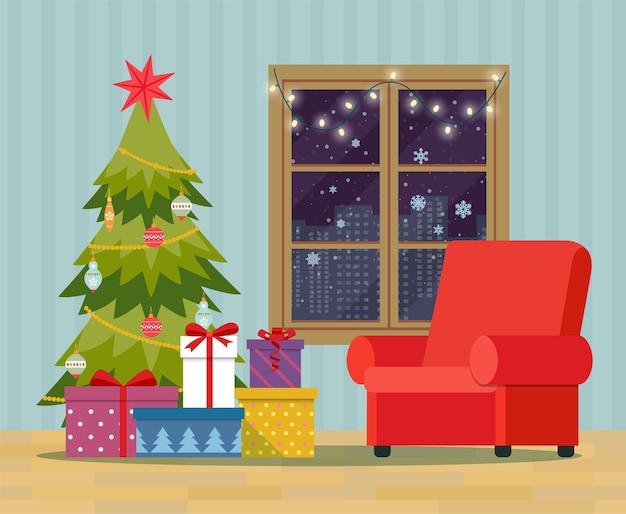 Arbre de noël, tas de coffrets cadeaux emballés colorés et décoration près de la fenêtre. intérieur de noël.