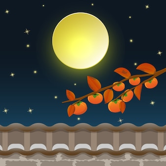Arbre de persimmon avec la pleine lune