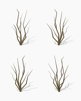 Arbre séché. illustration vectorielle isométrique lowpoly 3d