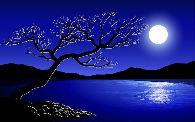 Arbre solitaire au clair de lune avec lac