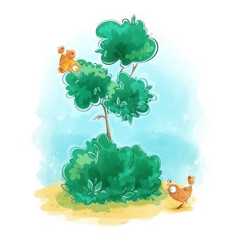 Arbre vert mince avec deux oiseaux orange stylisés mignons.