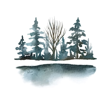 Arbres et arbustes, éléments de scène, forêt bleuâtre, illustration aquarelle dessinée à la main