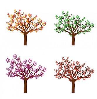 Arbres d'automne colorés