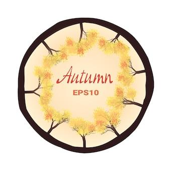 Arbres d'automne à l'intérieur d'un cercle, dessin vectoriel
