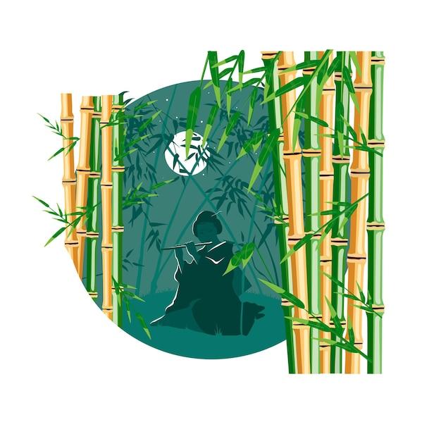 Arbres de bambou avec illustration de dessin animé plat de vecteur de couleur isolé sur cercle noir et blanc