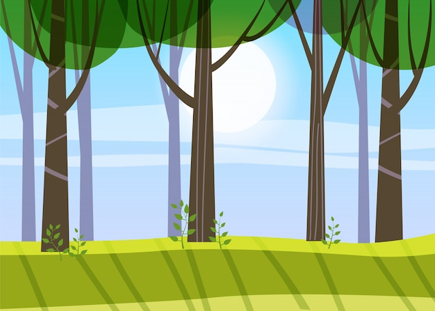 Arbres de forêt de printemps magnifique, feuillage vert, paysage, arbustes, silhouettes de troncs