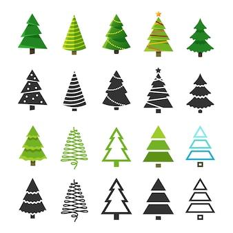 Arbres d'hiver de noël plats avec décoration de noël festive et collection de silhouettes de sapin noir