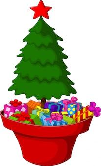Arbres de noël et tas de cadeaux