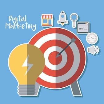 Arc et ampoule avec des icônes connexes de marketing numérique