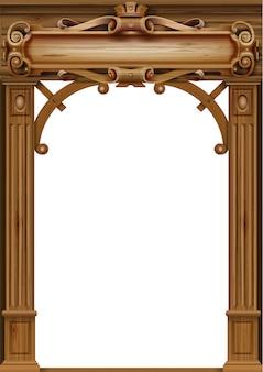 Arc antique en bois avec des sculptures de porte