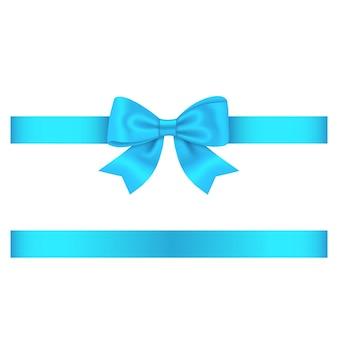Arc bleu clair et ruban isolé sur blanc