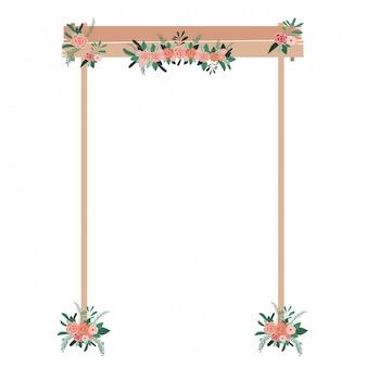 Arc en bois avec des fleurs