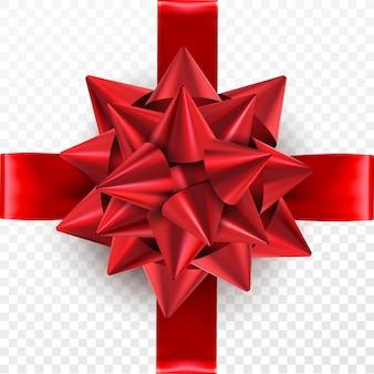Arc cadeau rouge sur un fond transparent.
