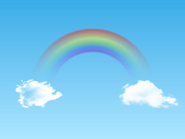 Arc-en-ciel arqué lumineux avec des nuages réalistes sur fond bleu.