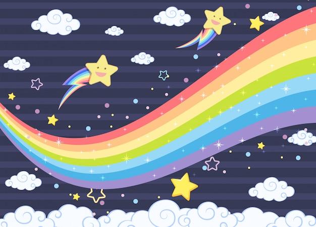 Arc-en-ciel blanc avec des étoiles souriantes sur fond de ciel bleu foncé