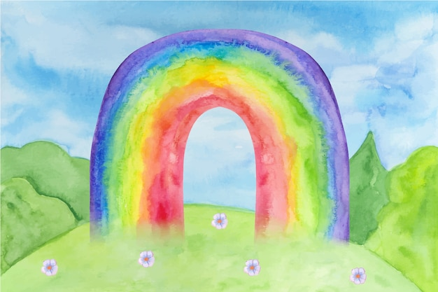 Arc en ciel design aquarelle