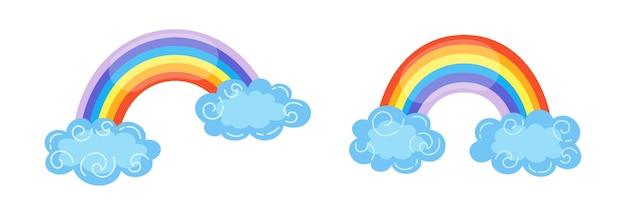 Arc-en-ciel dessiné à la main avec illustration de dessin animé de nuages