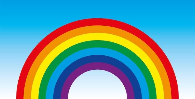 L'arc-en-ciel est un symbole de paix une enfance heureuse symbole d'arc-en-ciel coloré de vecteur sur le ciel bleu