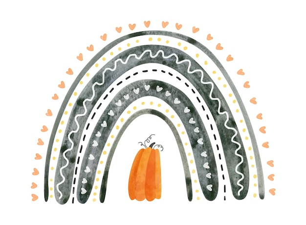 Arc-en-ciel d'halloween noir avec citrouille. illustration aquarelle mignonne pour les enfants halloween.