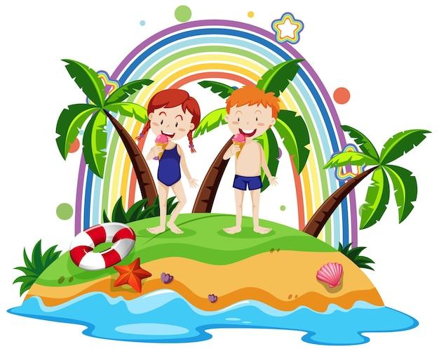 Arc-en-ciel sur l'île avec des enfants