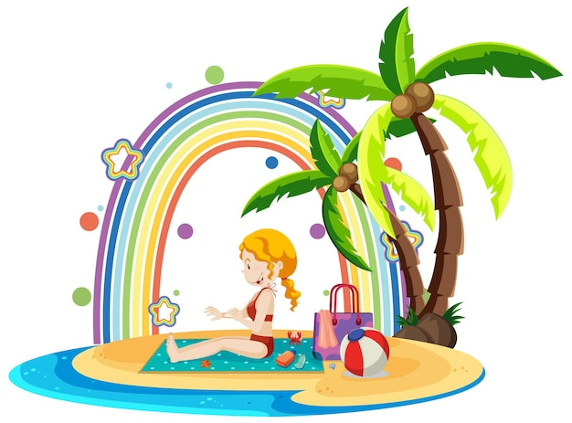 Arc-en-ciel sur l'île avec une fille sur la plage
