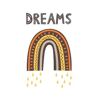 Arc-en-ciel et l'inscription dreams dans le style scandinave sur fond blanc. illustration vectorielle plane.