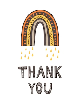 Arc-en-ciel et lettrage merci dans un style scandinave. illustration vectorielle de dessin à la main.