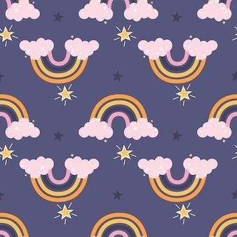 Arc-en-ciel mignon coloré avec des nuages roses et des étoiles sur fond violet modèle sans couture de vecteur