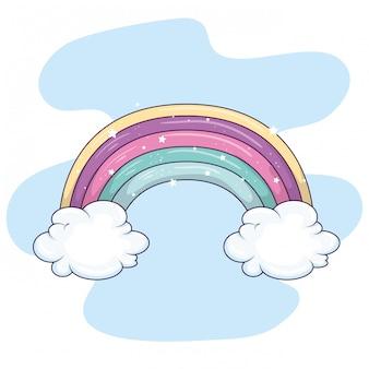 Arc-en-ciel mignon avec décoration de nuages et d'étoiles