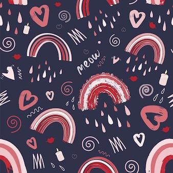 Arc-en-ciel mignon et modèle sans couture romantique de coeur modèle lumineux pour la saint-valentin
