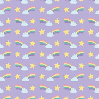 Arc en ciel mignon avec motif nuages et étoiles