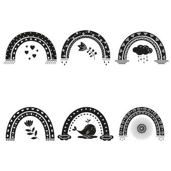 Arc-en-ciel avec ornements de style bohème, pochoir noir.