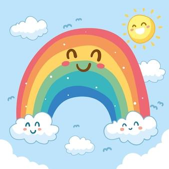 Arc-en-ciel smiley mignon