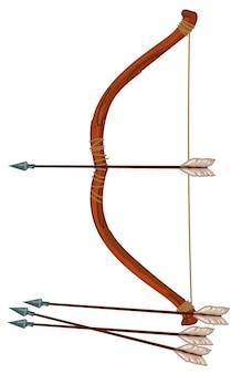 Arc avec flèche, arme ancienne pour les guerres de batailles
