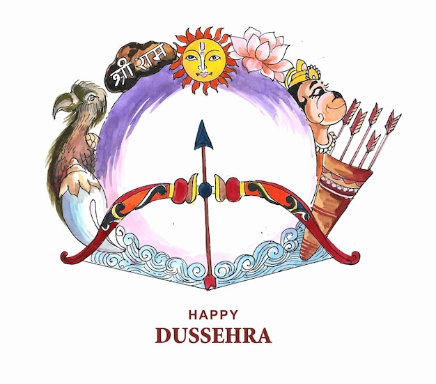 Arc et flèche décoratifs sur fond de joyeux festival de dussehra