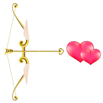Arc et flèche en or de la saint-valentin.