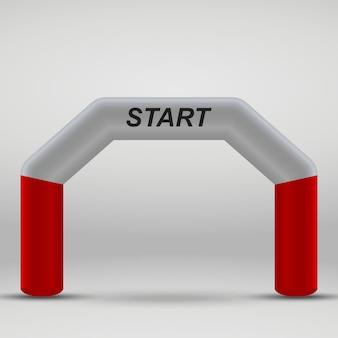 Arc de ligne de départ gonflable 3d. illustration vectorielle