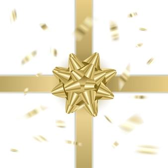 Arc d'or décoratif sur fond blanc décoration de vacances de noël et du nouvel an