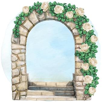 Arc en pierre élégant à l'aquarelle dessiné à la main avec des fleurs grimpantes