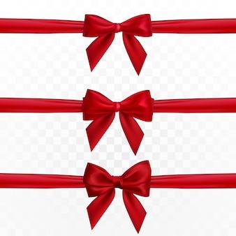 Arc rouge réaliste et ruban. élément pour cadeaux de décoration, salutations, vacances.