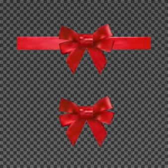 Arc rouge réaliste et ruban isolé