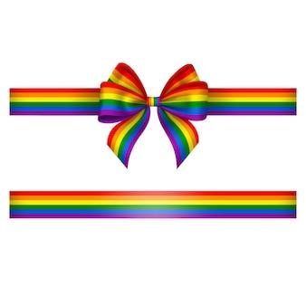 Arc et ruban avec arc de jour de fierté de couleurs arc-en-ciel