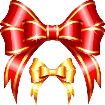 Arc et ruban de cadeau rouge et or de vecteur