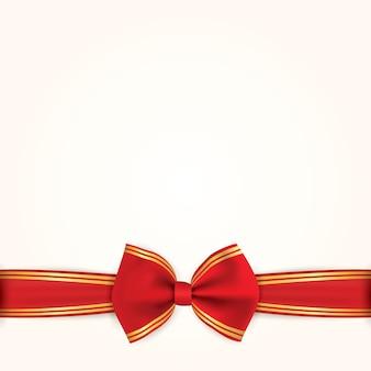 Arc et ruban en or rouge. illustration de vacances de fond.