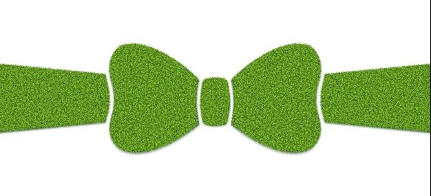 Arc avec ruban avec texture d'herbe, élément de conception de publicité de produits écologiques.