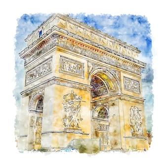 Arc de triomphe paris aquarelle croquis illustration dessinée à la main