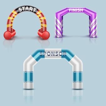 Arche de départ et d'arrivée de course gonflable, décoration d'arche d'événement sportif extérieur et bannière de sponsor. démarrer l'arche pour courir ou courir.
