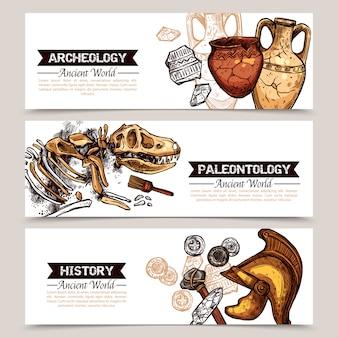 Archéologie bannières colorées à croquis horizontaux
