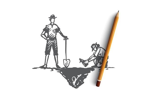 Les archéologues dessinés à la main travaillent dans un croquis de concept d'expédition